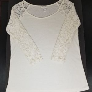 Charming Charlie Cream Lace Sleeve Top Sz Small